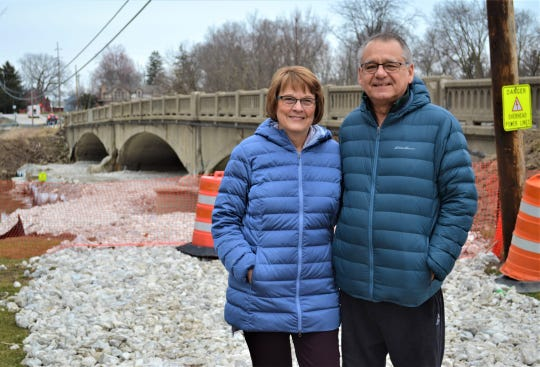 2908 Bob and Marie Babjack of Elmore took one last stroll across the historic Town Hill Bridge on Saturday. A public bridge walk event honoring the history of the bridge was cancelled due to the governor's directive to cancel large public events.