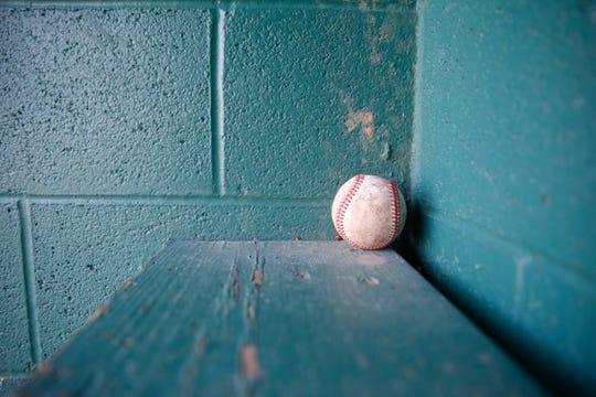 Pelota de beisbol al fondo del dogout.