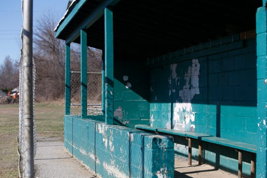 An empty dugout at Maurer Geering Park on March 16, 2020.