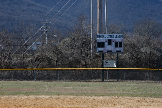 The scoreboard in the outfield of the baseball field at Maurer Geering Park on March 16, 2020.