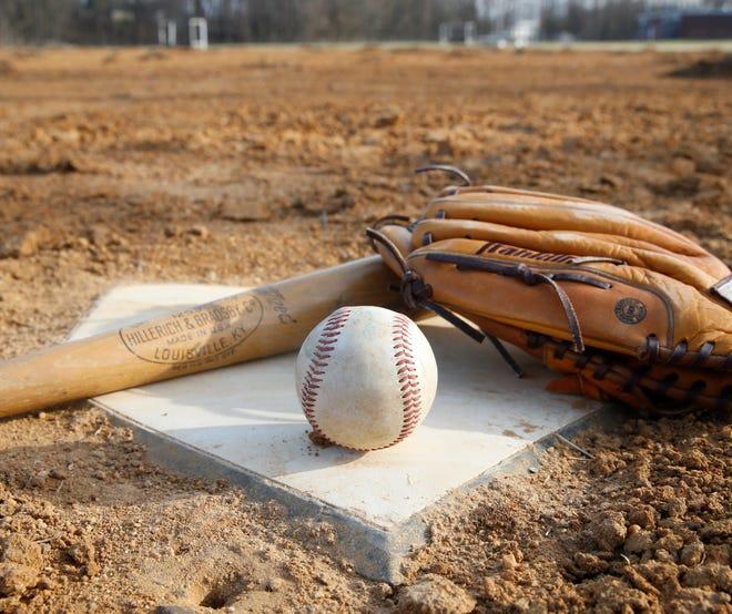 A photo illustration of baseball equipment.