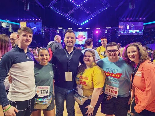 Penn State Mont Alto students, faculty and staff members represented the campus at THON in February. Pictured, from left, are Adrian Casey; Madison Shirley; Barret Scroggs, assistant professor of human development; Kirsten Tercek; Jacob Ziegler; and Donna Rhodes, student activities coordinator.