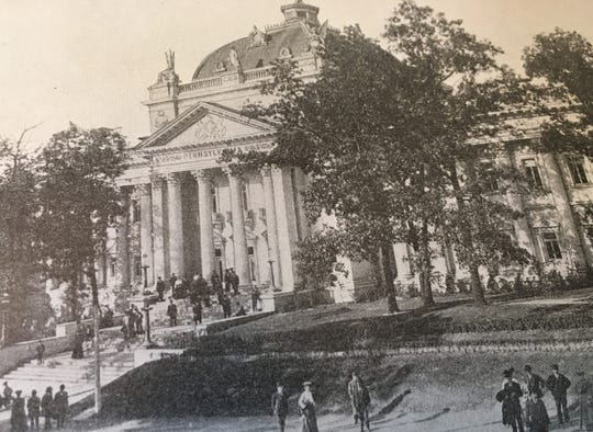 The Pennsylvania Building at the 1904 Louisiana Purchase Exposition/World's Fair was designed by Philip H. Johnson. An appropriate site was selected after some back-and-forth with the Fair's organizers.