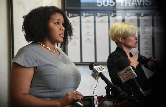 Monday afternoon's press conference at Government Plaza was held by city officials who stood apart from each other to emphasize the importance of keeping a distance during the coronavirus pandemic.