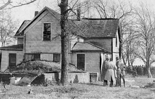 This photo was taken in 1932 at the Young family farm in Brookline the day after brothers Harry and Jennings Young shot and killed six local lawmen.