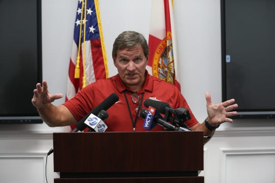 Assistant Superintendent of School Management Services Alan Cox speaks during a news conference held at Leon County Schools on COVID-19 Monday, March 16, 2020.