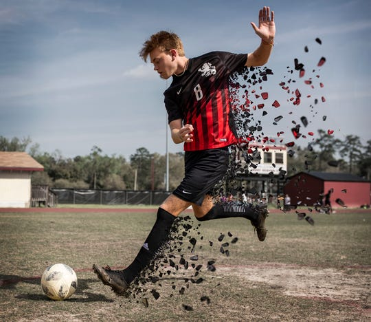 Leon senior forward Nick Ramsden is the 2020 All-Big Bend Player of the Year in boys soccer after scoring 31 goals with 15 assists during the LionsÕ 18-win season that ended in the Class 6A regional finals.