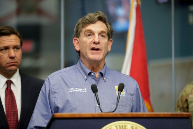 Florida Surgeon General Scott Rivkees speaks during a press conference held by Gov. Ron DeSantis about COVID-19 at the State Emergency Operations Center on March 16, 2020.