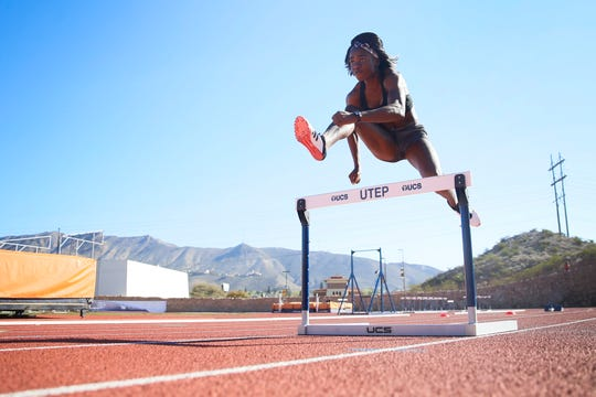 UTEP alumna hurdler Tobi Amusan practices at Kidd Field on the university's campus Monday, March 16, 2020, in El Paso. Amusan will make the 2020 Olympic team and go to Tokyo if the Olympics are held this year.