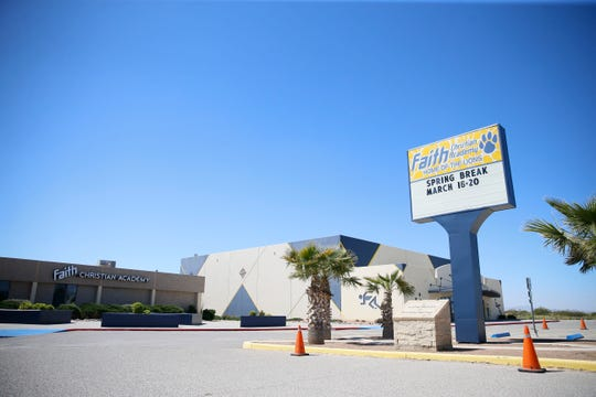 Faith Christian Academy Monday, March 16, in El Paso. The school is going to become a charter school.