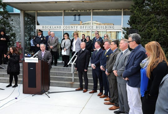 In response to the coronavirus outbreak, Rockland County Executive Ed Day announces a state of emergency at the county office building in Nw City March 16, 2020.