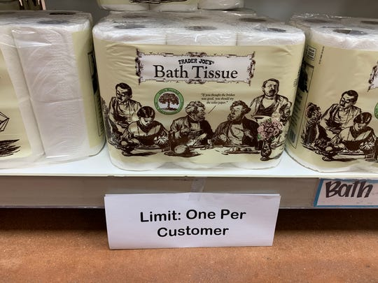 Trader Joe's is limiting the number of toilet rolls to one per customer until further notice. This is in response to mass stocking up with the news of COVID-19 being in Delaware.
