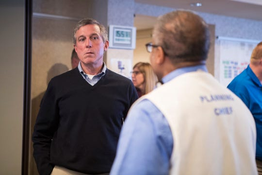 Governor John Carney tours the State Health Operation Center Monday in Smyrna. The center is the state's primary location for planning and operations to prevent the spreading of the coronavirus in Delaware.