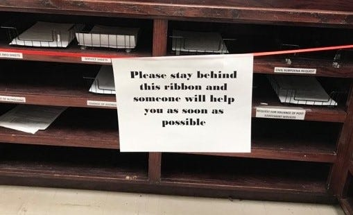 The Wichita County District Clerk's Office is taking precautions to prevent the spread of coronavirus while the office continues to serve the public. This new sign promotes social distancing at the office's front desk.