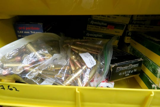 Bins of ammunition for sale at Guns & Roses in Toms River Tuesday afternoon, March 17, 2020.  In the wake of the coronavirus pandemic, there has been sky-high demand for guns and ammunition.