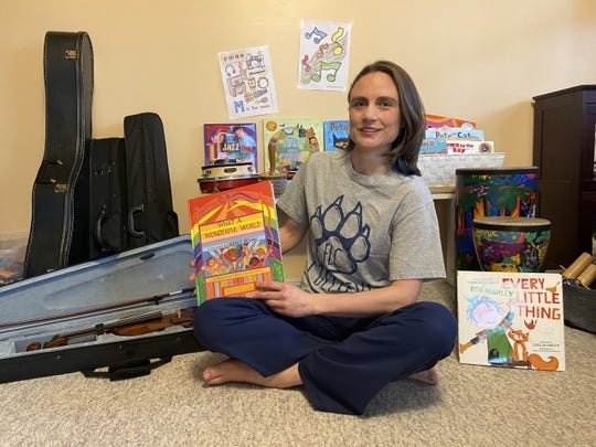 Tamar Goetke, a music teacher and mother in Freehold Borough, conducts virtual classes from her living room.