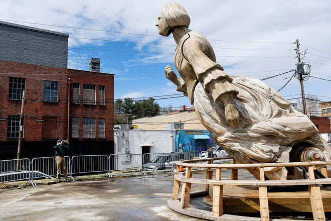 """""""WAKE,"""" an animatronic sculpture from artist Mel Chin and UNCA students, was on display next to Burial Beer in Asheville's South Slope. The sculpture, previous exhibited in New York City's Times Square, has now been dismantled."""