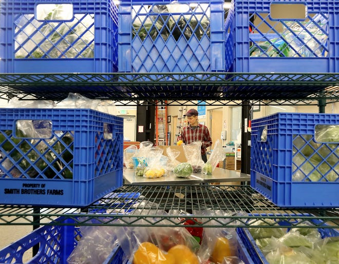 Homeshare coordinator Emily Klein is framed by crates of vegetables as she sorts produce into individual ready-to-go bags for distribution at North Kitsap Fishline in Poulsbo on Tuesday.