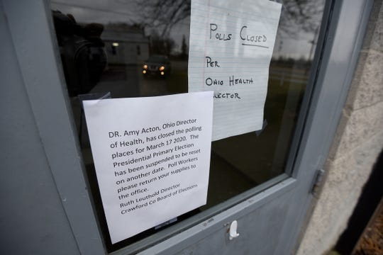 The polling place at the Youth Building at the Crawford County Fairgrounds was closed Tuesday after the Ohio elections were postponed. Ohio Health Department director Dr. Amy Acton issued an order closing all polling locations on Tuesday.
