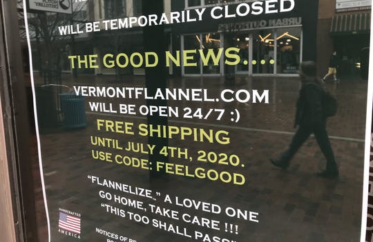 A little good news: Despite closing its store on Church Street in Burlington, Vermont Flannel posts a sign on March 17, 2020 urging customers to shop online.  Many businesses and services throughout Chittenden County are closing or curtailing hours.