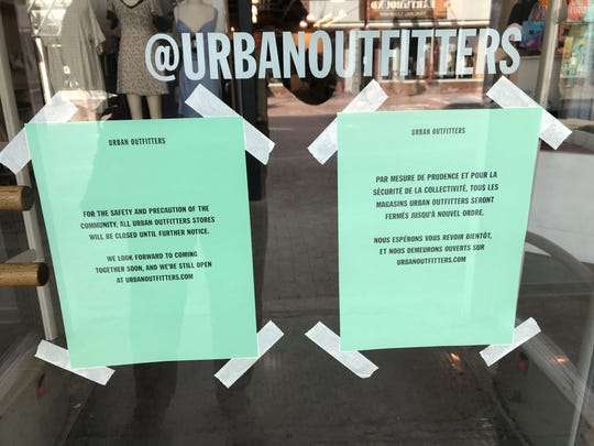 Urban Outfitters is among the many stores closed on Burlington's Church Street because of the coronavirus pandemic.