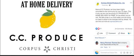 Corpus Christi Produce Co., Inc said it would offer free delivery to elderly and at-risk populations amid concerns about the COVID-19 outbreak.