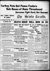 The Oct. 1, 1918 edition of The Scioto Gazette, which speaks about the influenza outbreak.
