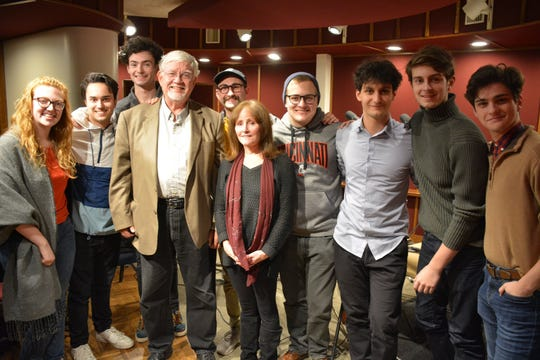 """John Kiesewetter (in tan jacket) and the cast of """"O'Toole from Moscow."""""""