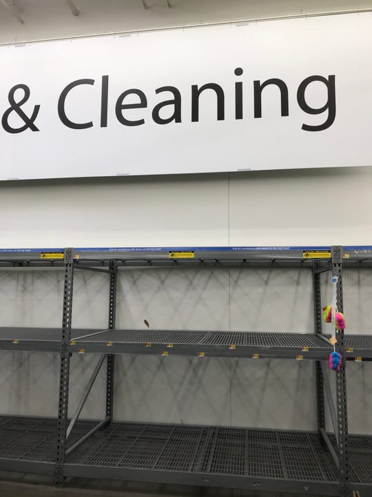The cleaning section of Walmart on Red Bank Road on Tuesday, March 17, 2020.