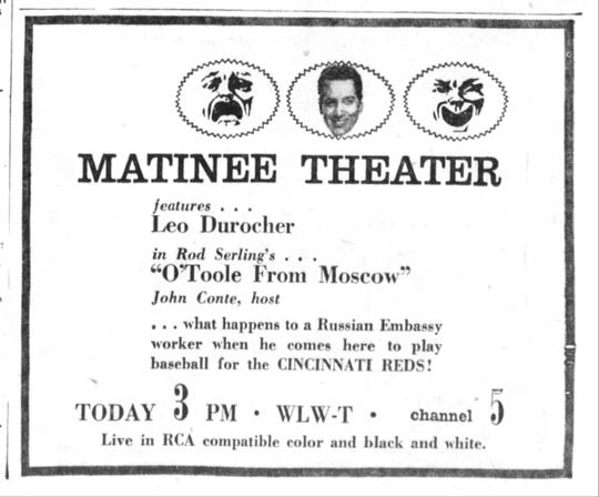 """An advertisement for the original """"O'Toole from Moscow"""" on WLWT Channel 5 appeared in The Enquirer in 1955."""