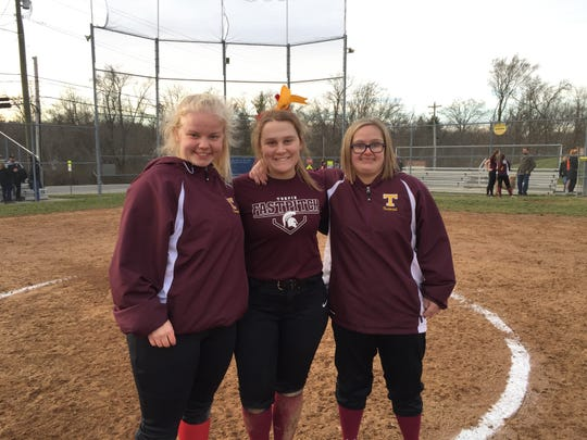 Turpin seniors Allie Holbrook, Kaylie Williams and Katherine Cassedy after their impromptu scrimmage March 13