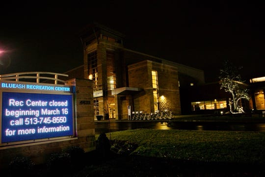 """The Blue Ash Recreation Center, which would have served as a polling place, stands quiet on Tuesday morning. Ohio Gov. Mike DeWine postponed the state's primary late Monday after declaring the coronavirus was a """"health emergency"""" that endangered the lives of thousands of poll workers and voters."""