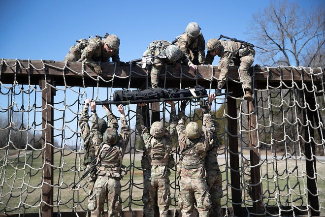Austin Peay State University ROTC cadets train at Fort Campbell, Kentucky, recently. The team is preparing for a second straight trip to the international Sandhurst military skills competition April 18-19 at the United States Military Academy at West Point.