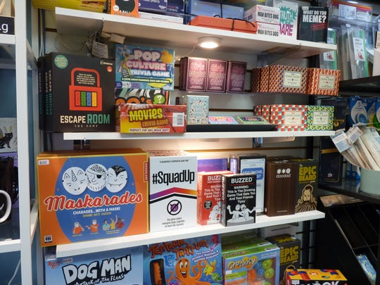 Board games for sale at Mainly Gadgets in downtown Somerville during the coronavirus pandemic.