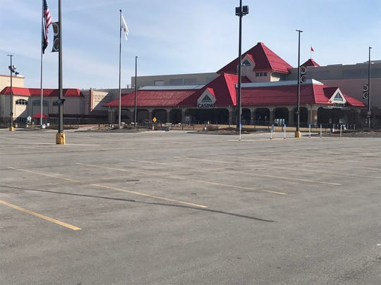 Vacant parking lot Tuesday outside Prairie Meadows casino