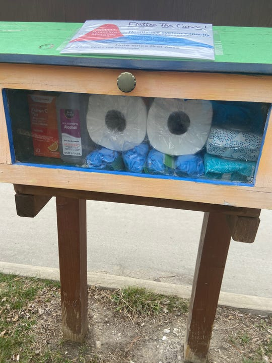 Bob Meeley has converted the Little Free Library outside his Beaver Avenue home into a chest for supplies during the coronavirus pandemic.