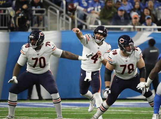 Bears quarterback Chase Daniel throws in the first quarter against the Lions at Ford Field on Thursday, Nov. 22, 2018. The Bears won, 23-16.