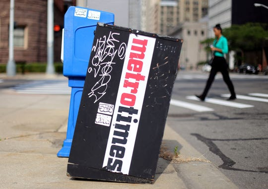A Metro Times news box on Fort Street on Monday, Aug. 26, 2013  in Detroit, Mich.