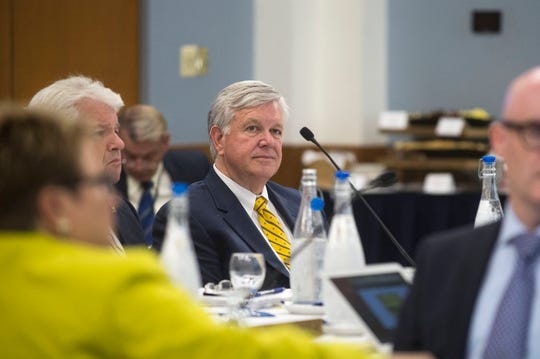Dr. Marschall Runge listens during a University of Michigan Board of Regents meeting on Thursday, June 15, 2017 at the Michigan Union in Ann Arbor.