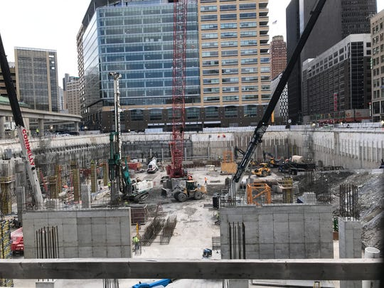 Street-level view of the Hudson Tower construction site Tuesday, March 17, 2020. Bedrock Detroit broke ground on the project in December 2017.