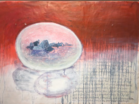 """Snow Globe for Van Gogh"" by Ed Fraga at the Birmingham Bloomfield Art Center, which is open by appointment, through June 4."