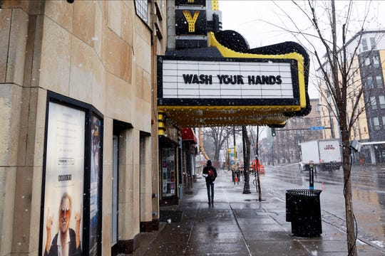 The Varsity Theater, home to concerts, used the marquee to address the need for washing hands due to the coronavirus, the disease that is caused by the new coronavirus, Monday near the University of Minnesota in Minneapolis.