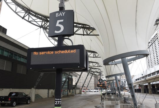 An empty Rosa Parks Transit Center in downtown Detroit after bus service was canceled Tuesday.