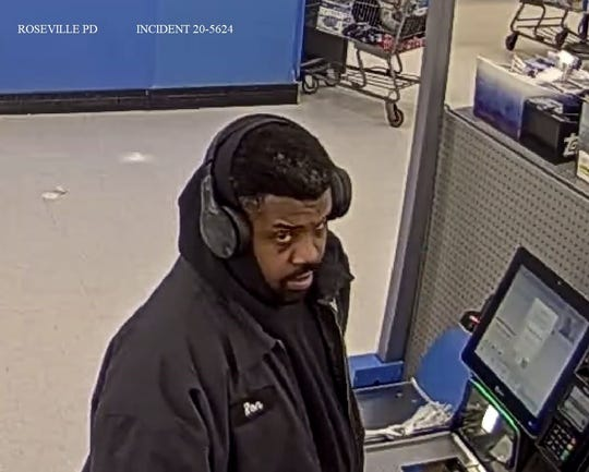 Roseville police said this man is accused of stealing items from a Walmart store and then assaulting one of the retailer's employees on March 6, 2020.