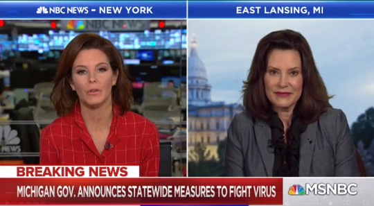 Gov. Gretchen Whitmer on MSNBC speaking about coronavirus measures.