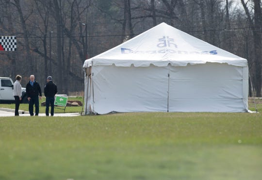 "A tent has been raised Tuesday afternoon, March 17, 2020. It is thought to be part of the new ""drive through COVID-19 testing site for symptomatic patients who have an order for testing"" mentioned in a press release from Deaconess sent out late Tuesday afternoon."