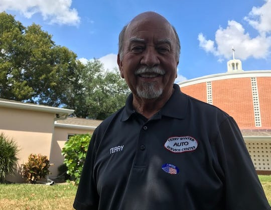 Terry Wynter, 72, of Fort Myers, after casting his vote in the Florida primary on March 17, 2020.
