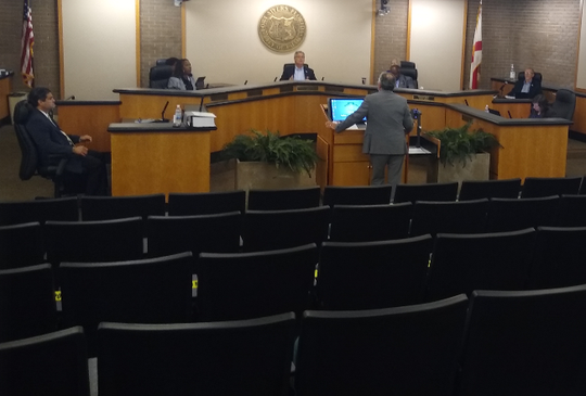 Strict compliance with a White House suggestion that people not hold meetings of more than 10 people meant the Fort Myers City Council had no room for spectators after 7 council members, the county clerk, manager and attorney and a police officer took their places in the council chamber on Monday, March 16, 2020.