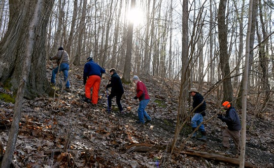 Ithaca Hikers group embarks on a hike at Danby State Forest, Sunday, March 15, 2020.
