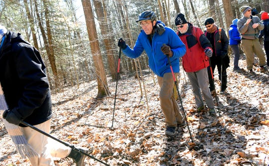 Stephen Hesse, the coordinator of the Ithaca Hikers group, on the trail at Danby State Forest, Sunday, March 15, 2020.